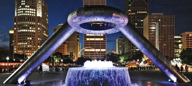 A preview of the nightlife at Hart Plaza. Photo via  visitdetroit.com