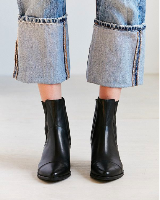 These pointy-toed, black leather  boots from Urban Outfitters  look amazing with light-wash, cropped/cuffed denim.