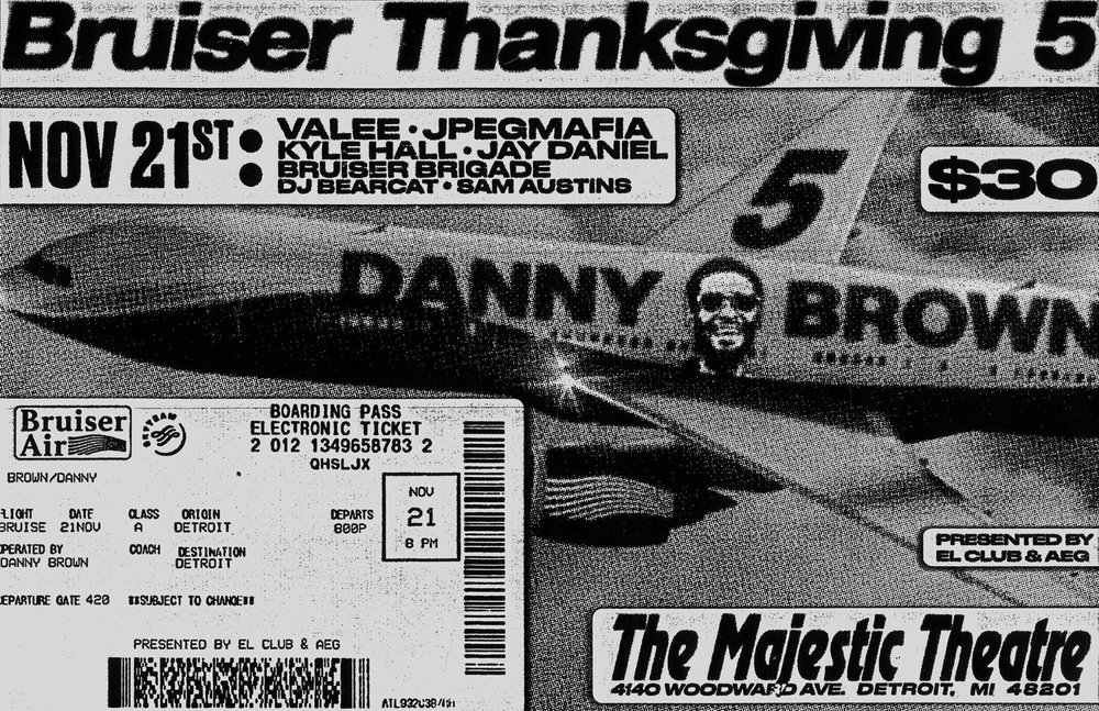 Flyer via  Danny Brown's Bruiser Thanksgiving V at The Majestic 11/21  on Facebook