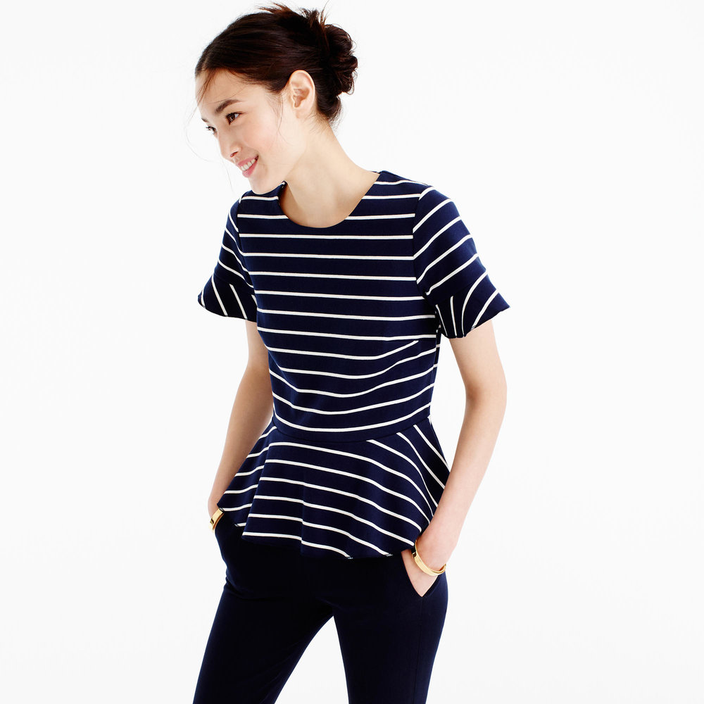 j. crew striped peplum top weekly edit