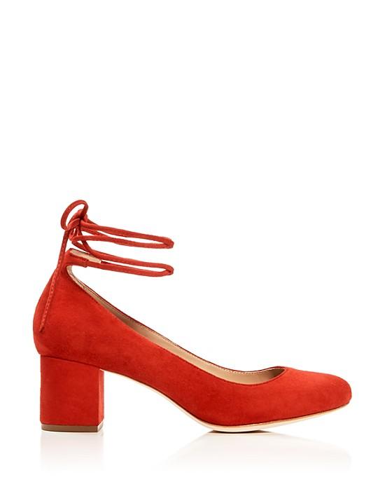 Red Suede Ankle-Tie Heels
