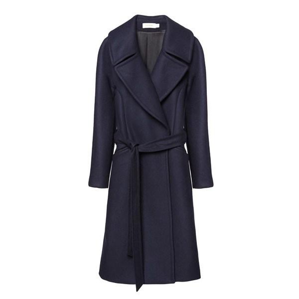 Navy Wool Wrap Coat