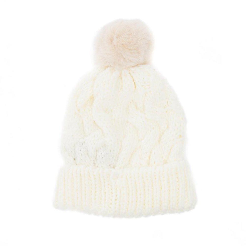 White Fur Pom Pom Hat