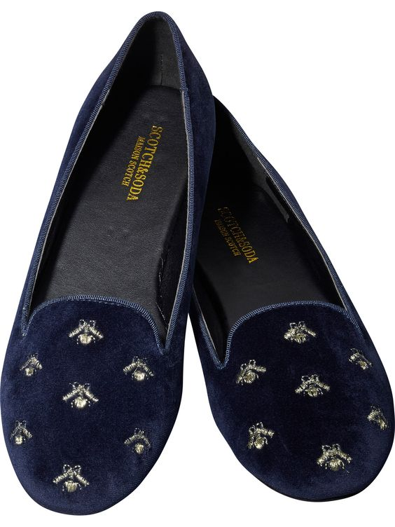 Navy Velvet Bee Loafers, $98 | the weekly edit