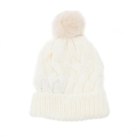 Faux Fur Pom Pom Hat on The Weekly Edit
