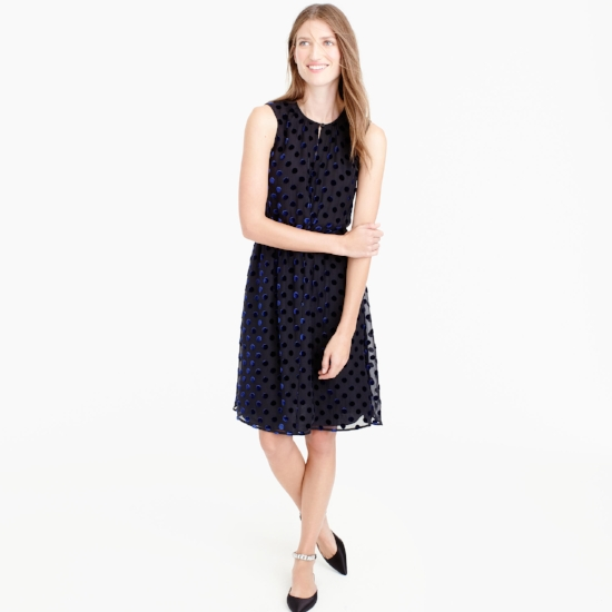 Velvet Polka Dot Dress on The Weekly Edit