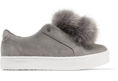 faux fur pom pom sneakers