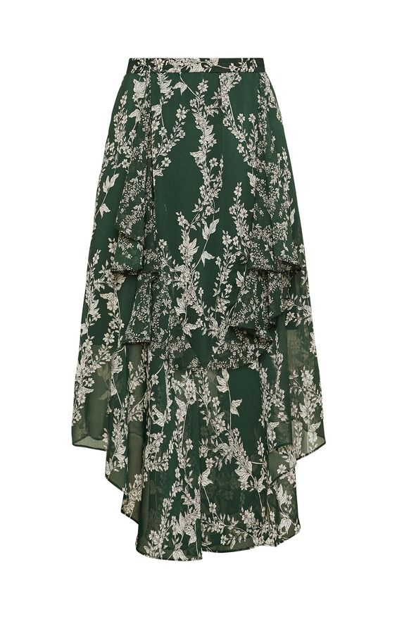 Asymmetric Floral Midi Skirt in Green