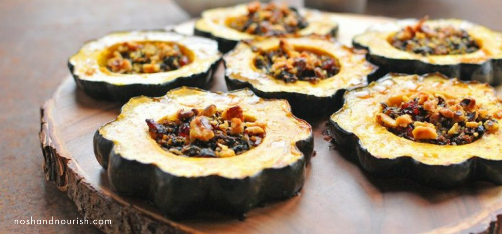 spinach and cranberry stuffed acorn squash