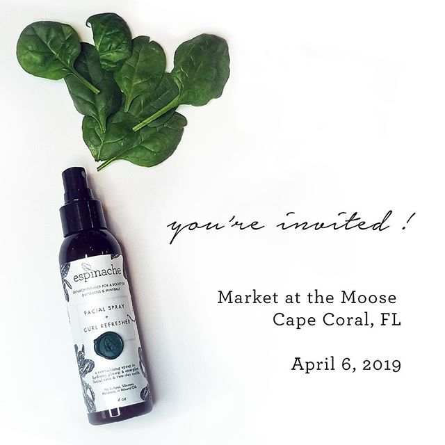 Come hang with us today at the Farmers Market at the Moose! We'll be here in Cape Coral, Florida from 9am-2pm surrounded by fresh produce, yummies, baked goods, gourmet spices, jewelry & other local artisan gems. Free admission. Hours: 9am-2pm. Check our event page at the link in bio for more info. ⠀ ⠀ #event #farmersmarket #artisan #flea #market #handmademarket #handmade #handmadebeauty #freshcosmetics #fresh #gardenfresh #farmfresh #craftfair #fair #marketatthemoose #capecoral #FL #florida #southflorida #smallbatch #shoplocal #supportlocal #madeinusa #madeinamerica #espinache #whyspinach