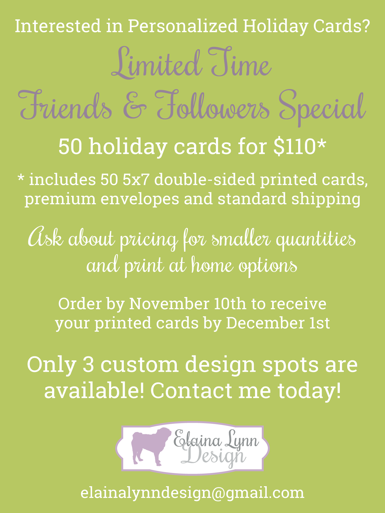 Personalized holiday cards by Elaina Lynn Design