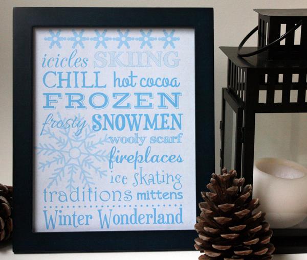 Free Winter Wonderland wall art printable