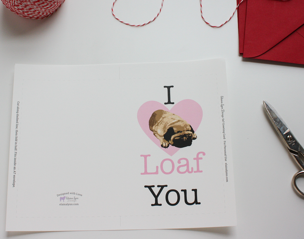 Pug Loaf Card Printed