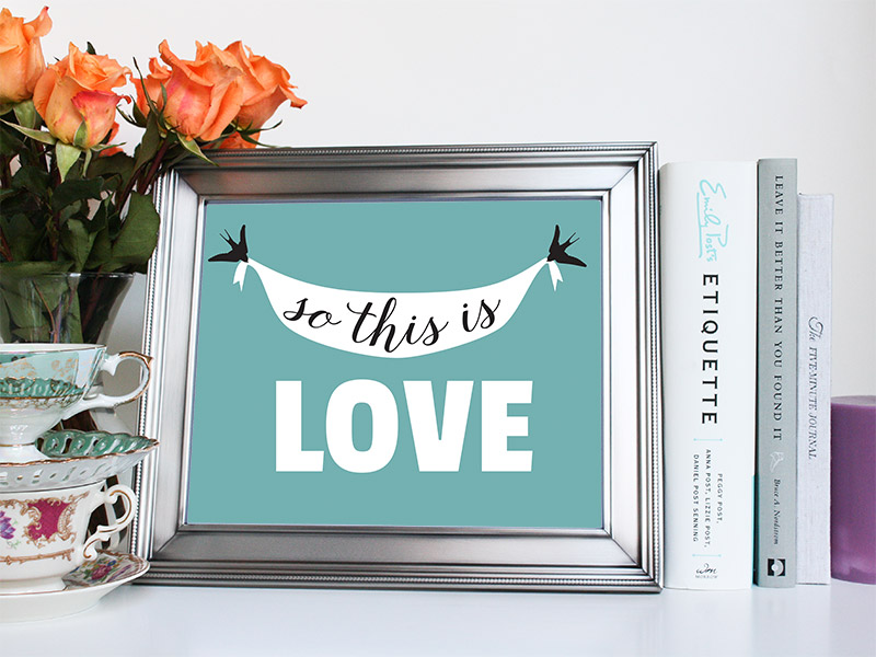 So This Is Love Silver Frame Art Print