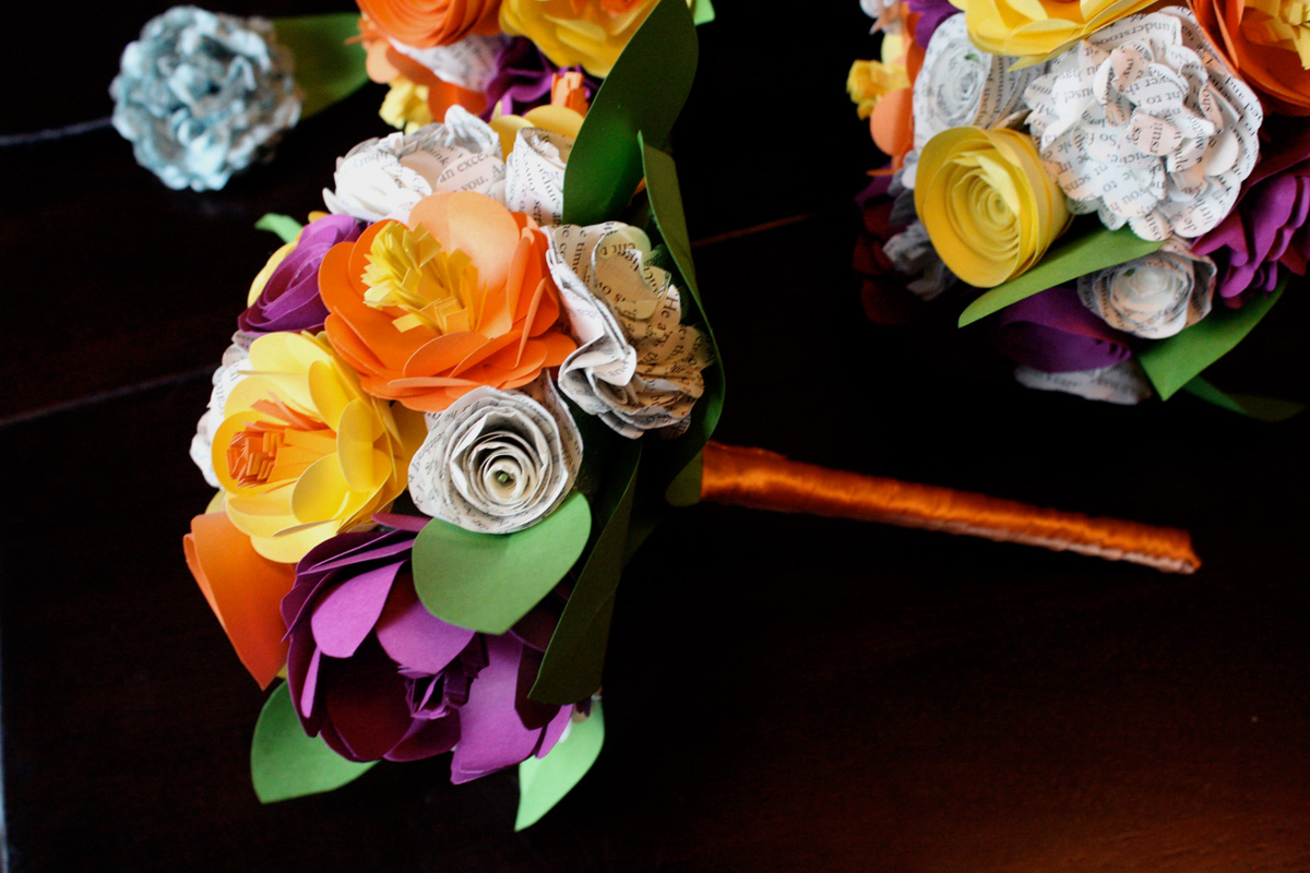 Paper Flowers with ribbon