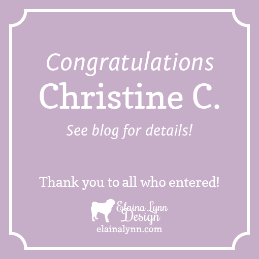 Elaina Lynn Design blog Giveaway Winner