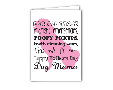 Free printable card for Dog Moms - Mother's Day Card for Pug Mamas