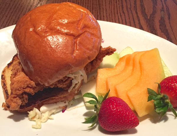 Carnation Cafe fried chicken sandwich for 24 hour Disneyland party