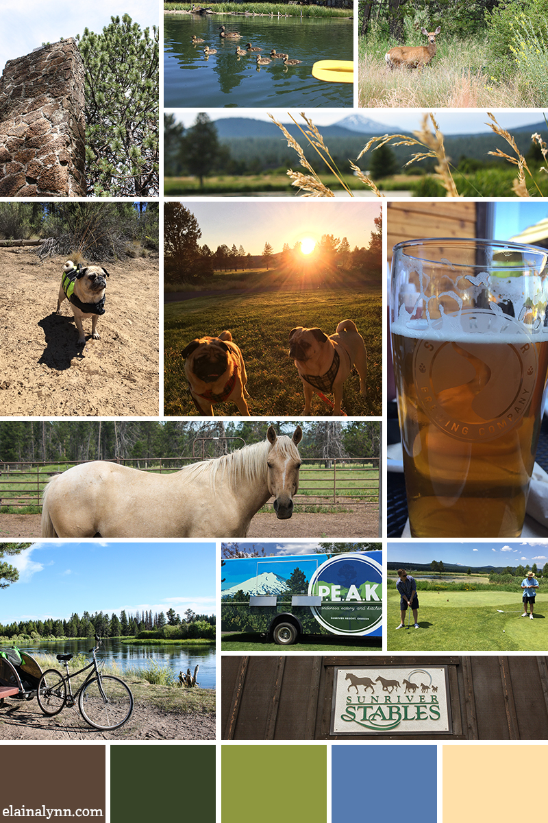 Inspiration board with photos from Sunriver Resort in Bend, Oregon