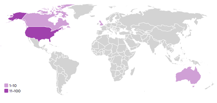 Enchanted Type Customer Locations in 2015