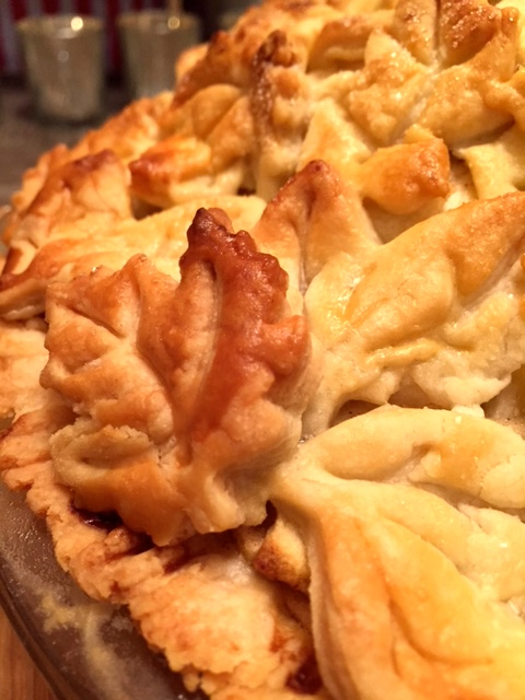 I'm so pleased that the leaves crisped up turned a beautiful golden brown. When it comes to serving the pie, I'm always in favor of adding two scoops of vanilla bean ice cream. The flavors blend together so well, and it's a great combination of hot and cold to delight your tastebuds.
