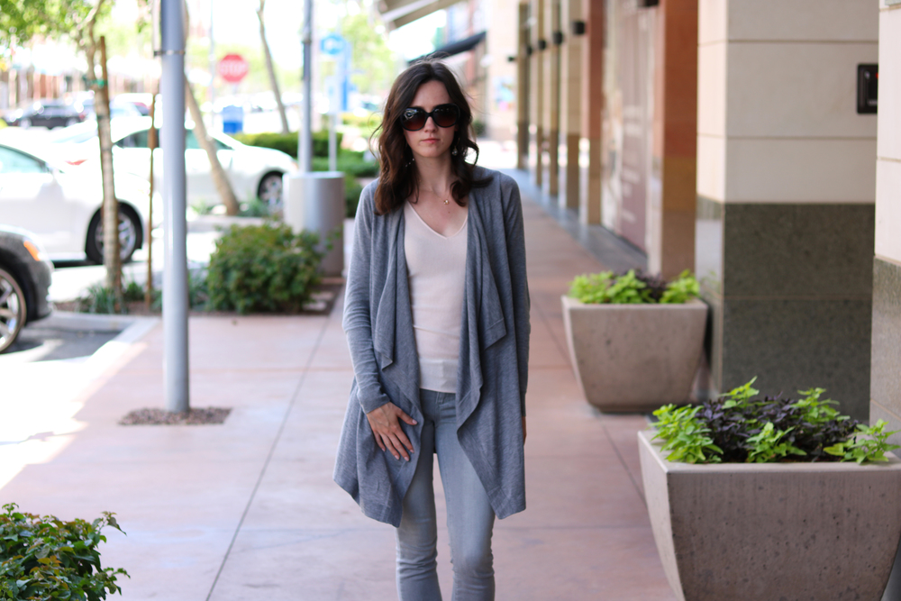 Vince  Cardigan |  Nordstrom Signature and Caroline Issa  Tank |  Paige  Jeans (on sale!) |  Noon  Necklace & Earrings | Chanel Sunglasses