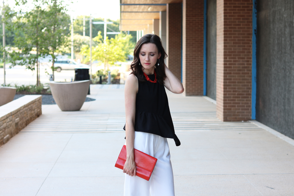 Top: Stella McCartney | Pants: Chelsea 28 | Clutch: Halogen | Necklace: J. Crew