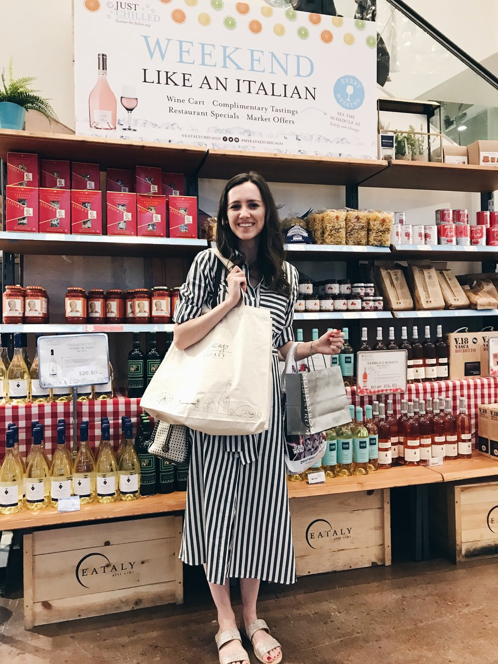 On the first floor market at Eataly! So happy with my new canvas tote!