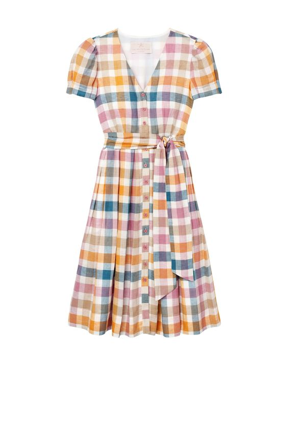 A rainbow gingham dress - This dress screams spring with its soft color palette, button details, pockets and bow sash. Just add a straw hat and espadrilles and you're ready for a garden party!