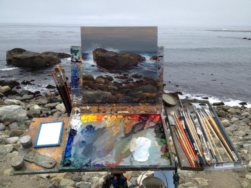 Pavel Gazur's Plein-Air Setup, Big Sur | California Seascape Painter