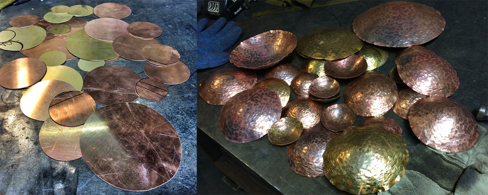 Flat sheet metal cut into discs is heated and cooled, then hammered into shapes. Then the process is repeated...