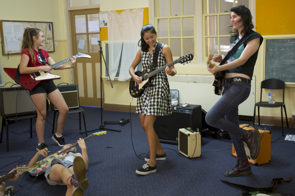 Guitar class, Girls Rock! Canberra 2016. Photo by Mia Mala McDonald