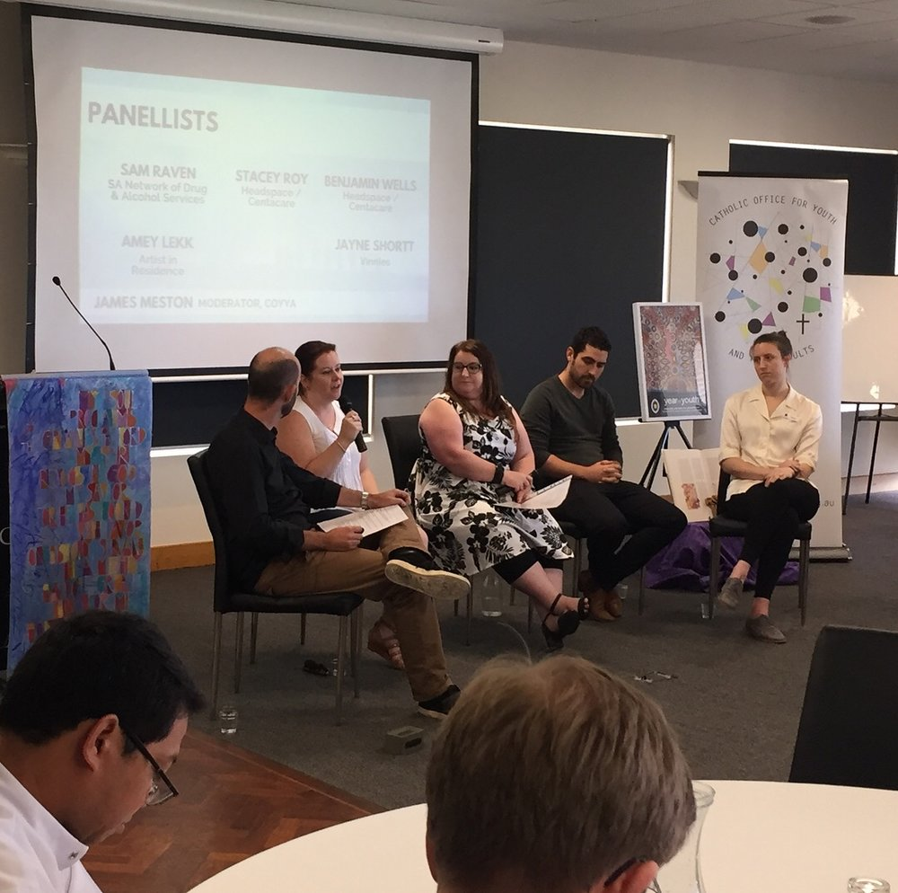 Panel of Experts on the realities facing young people in South Australia.Panellists R-L: James Meston (COYYA, Moderator), Sam Raven (SANDAS), Jayne Shortt (Vinnies), Ben Wells and Stacey Roy (Headspace)