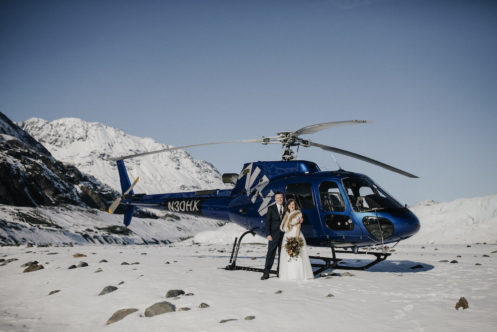 Alaska Helicopter Glacier Elopement - Alaska Destination Weddings
