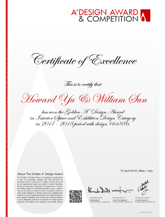 Certificate of Excellence 2017-2018   A' Design Award & Competition