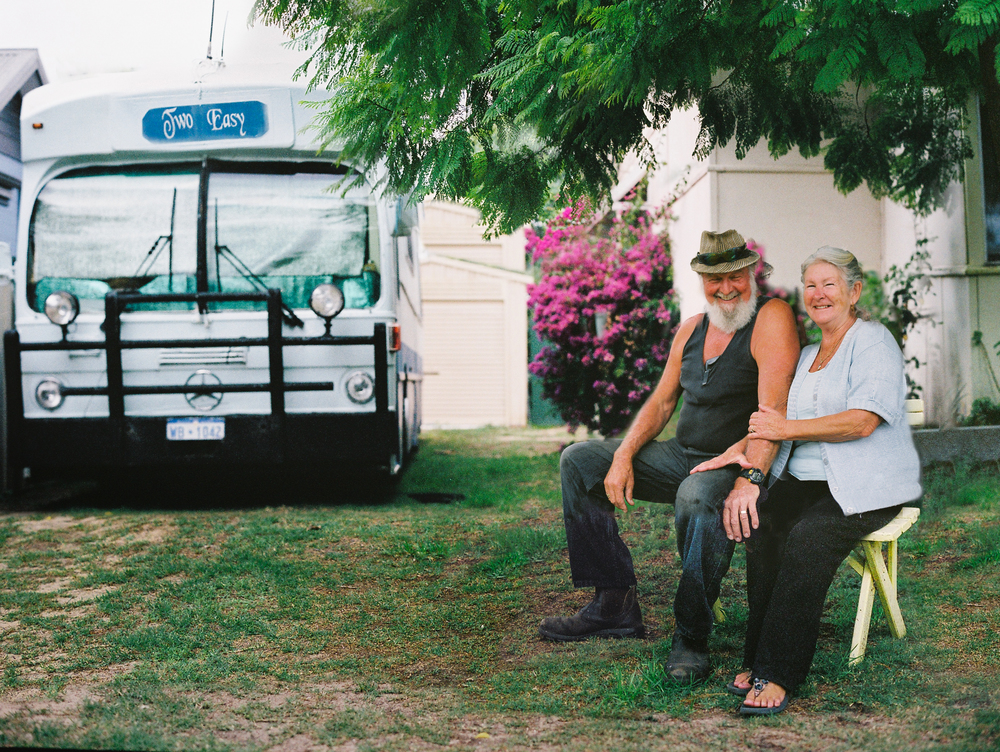 John & Sybil - 16 yrs travelling around Australia in an old Mercedes bus, 'Two Easy'.