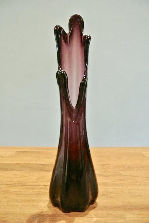 Retro Vintage Mid Century Murano 5 Finger Amethyst Vase Almeida