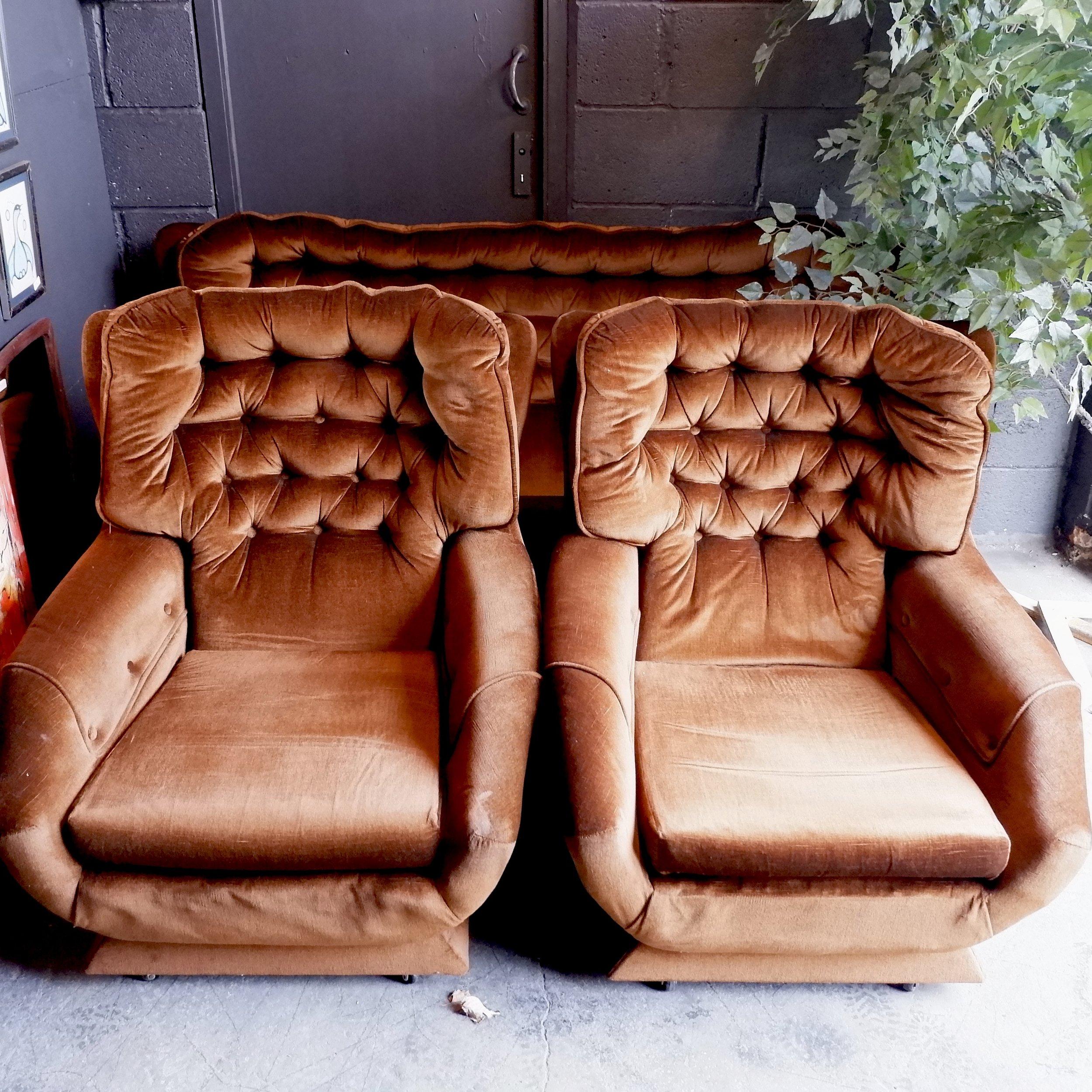 Retro Vintage Mid Century Brown 3 Piece Suite Sofa Armchairs