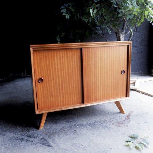 Retro Vintage Mid Century Record Cabinet Tv Stand Media Storage Unit
