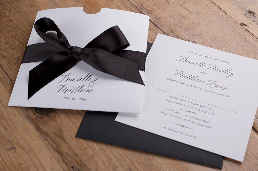 Wren Invitation Super Smooth Card • Black Ink • Black Satin Ribbon