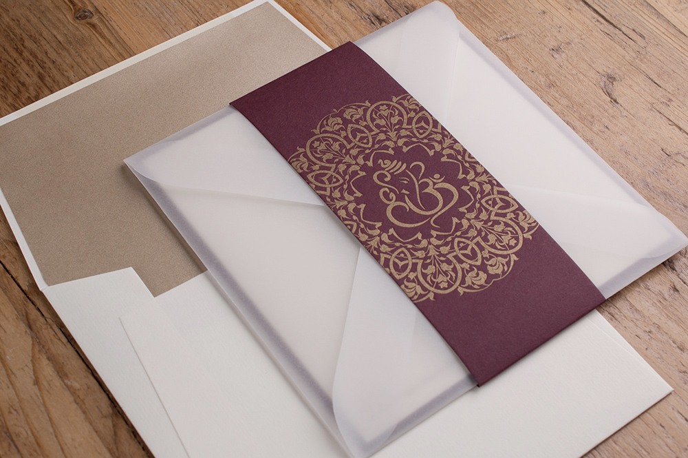 Sienna Invitation Soft Ivory & Claret Card • Antique Gold Ink