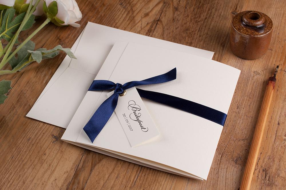 Ellery Invitation Soft Ivory Card • Navy Ribbon • Black Ink
