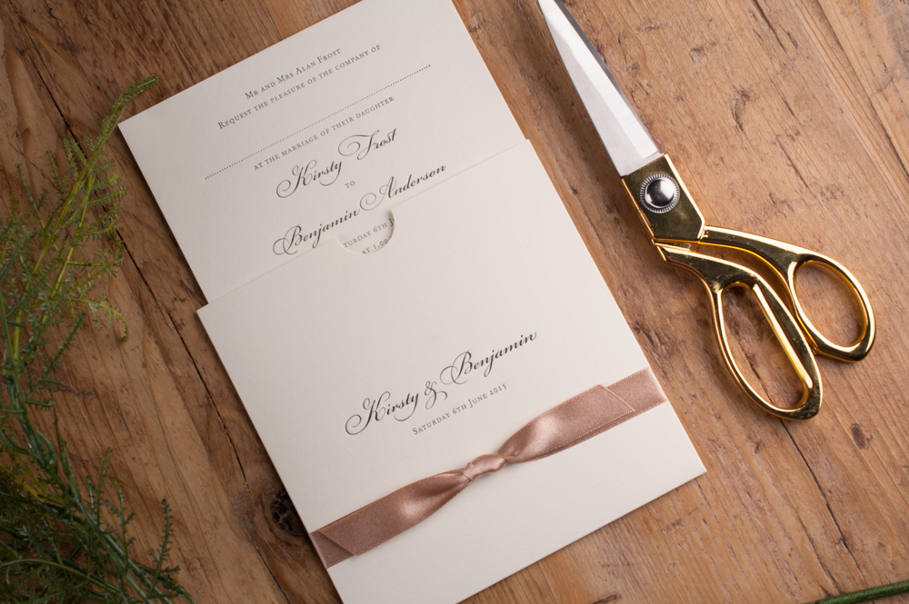 Eve Invitation Soft Ivory Card • Biscotti Ribbon • Black Ink