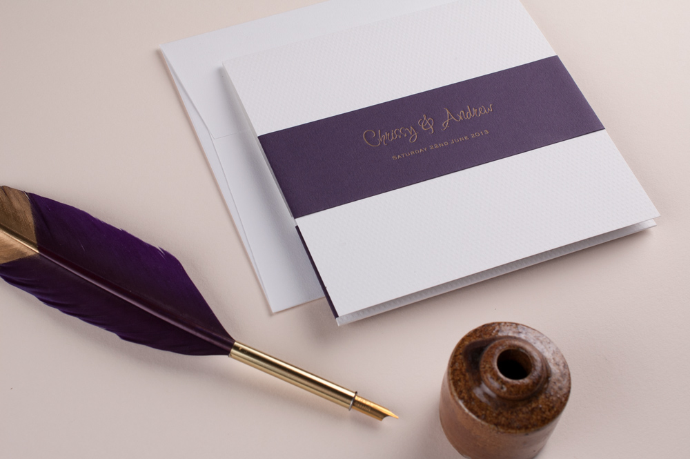 Ellis Invitation Pure White Wallet • Amethyst Wrap • Antique Gold Ink