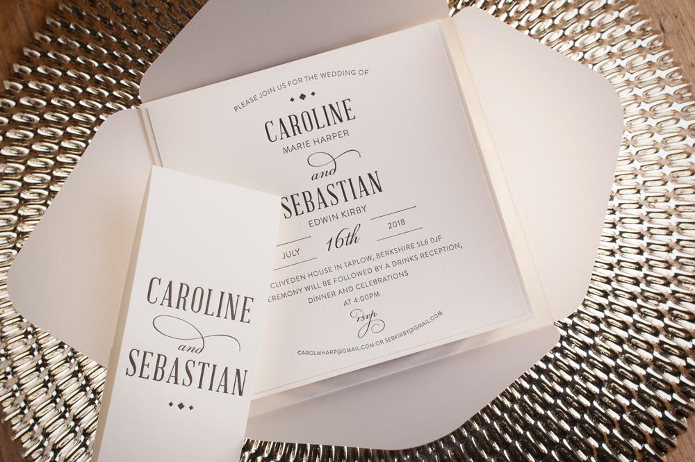 Huxley Invitation Soft Ivory Card • Black Ink