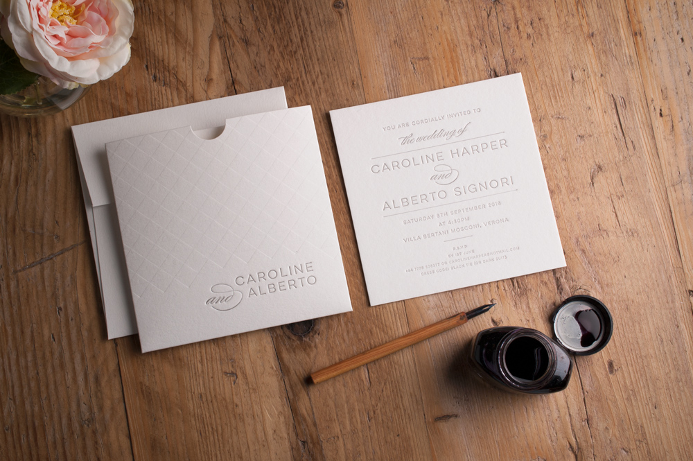 Rae Invitation Cotton Card • Dark Grey Ink