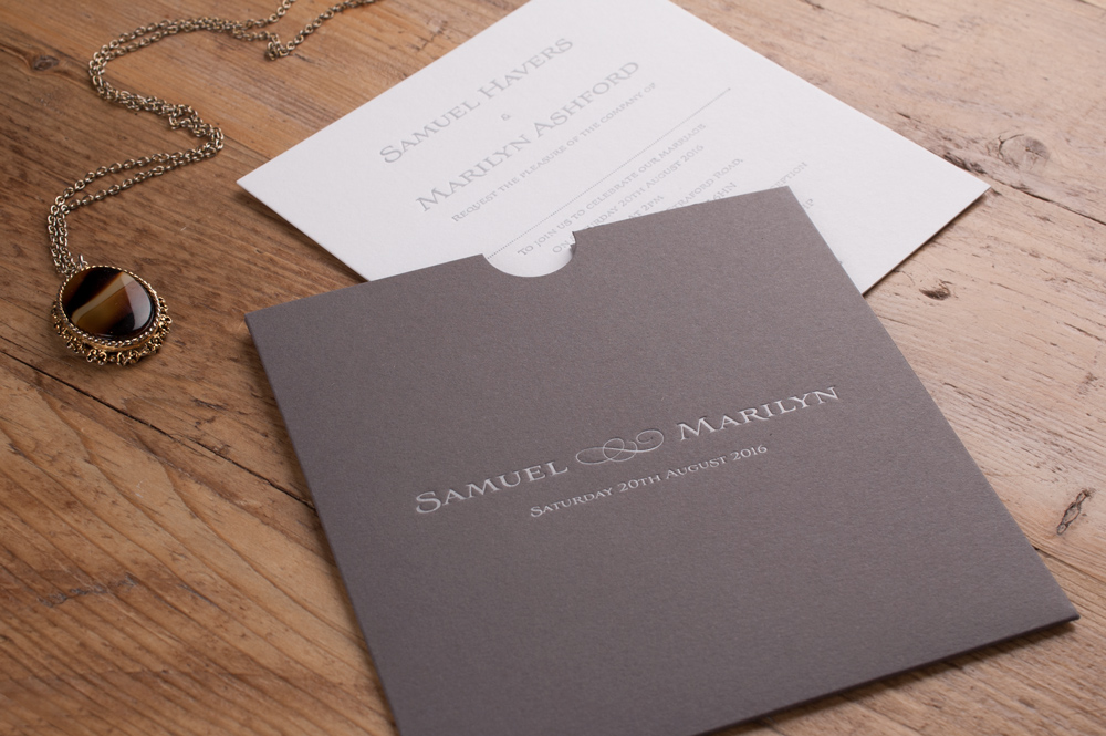 Brooke Invitation Dark Grey Pocket • Pure White insert • Gun Metal Ink