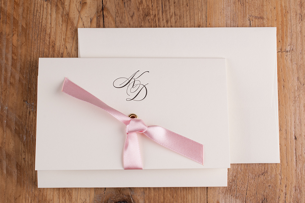 Maia Invitation Soft Ivory Card • Azalea Ribbon • Black Ink