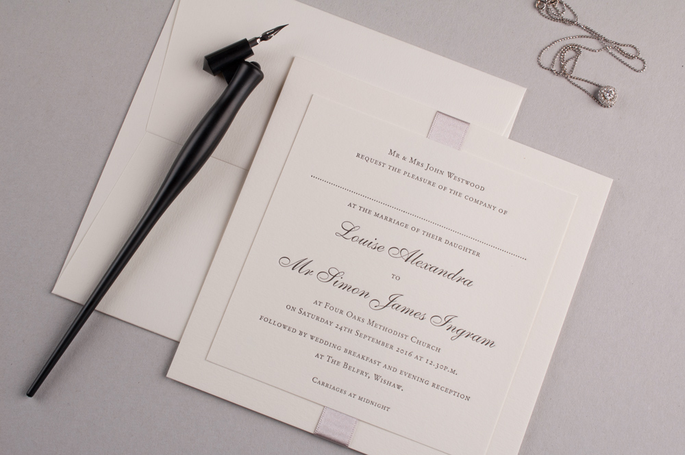Tate Invitation Soft Ivory Card • Dove Grey Ribbon • Black Ink