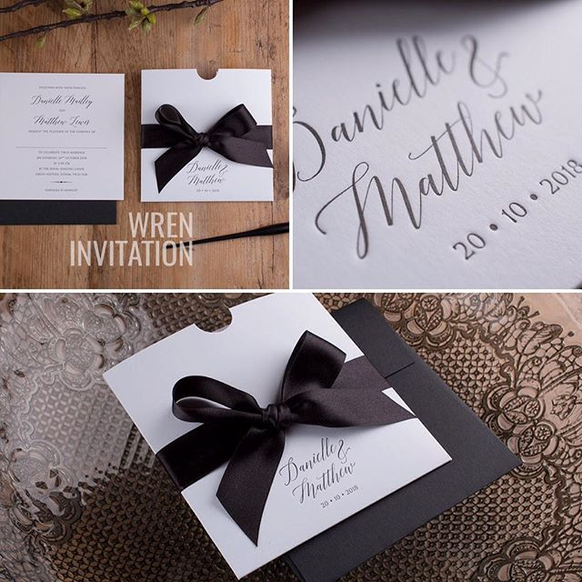 Introducing the Wren invitation new for 2017! Glamorous oversized ribbon with personalised pocket and invitation insert.  #weddingstationery #weddinginvitations #letterpress #2017wedding #luxuryinvitations #cardlabletterpress
